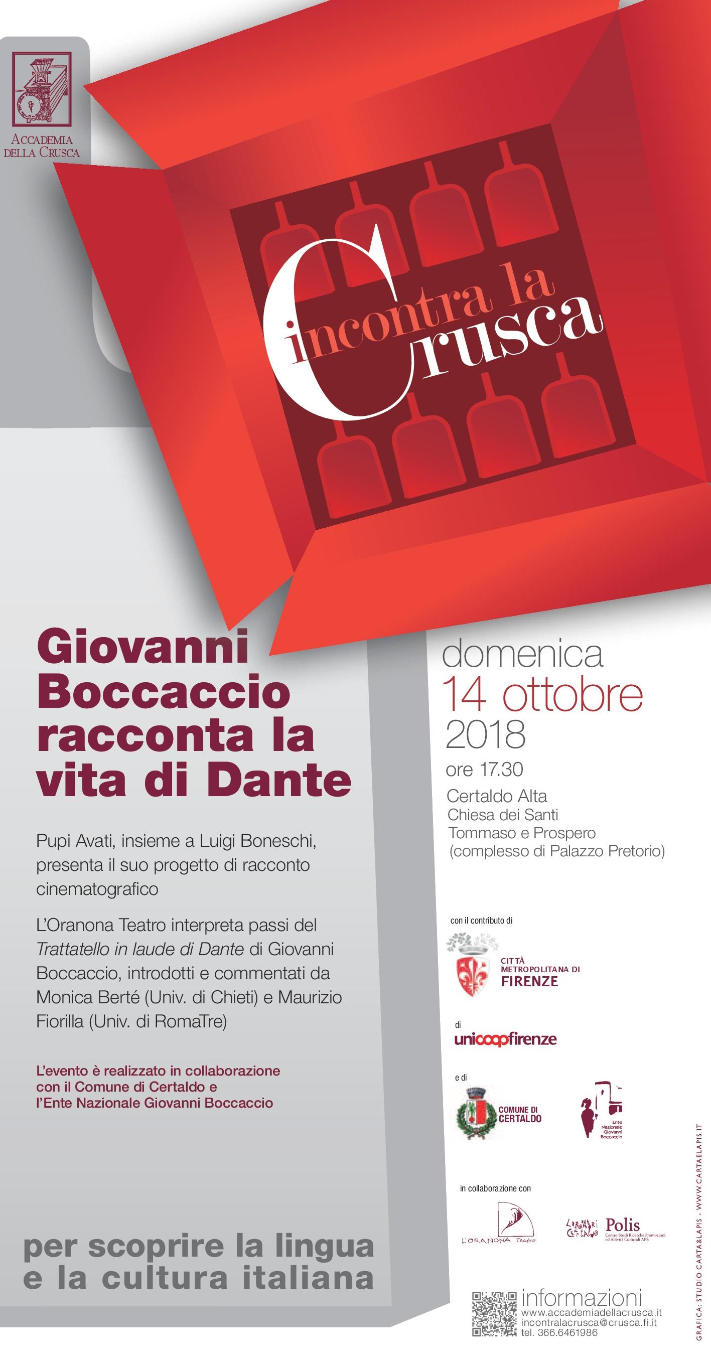 Boccaccio racconta la vita di Dante, Incontra la Crusca (Certaldo)-001
